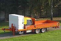 Tandem-Tieflader mit einschiebbaren Alu-Verladeschienen, Werkzeug-/Gerätekasten und Kompressor