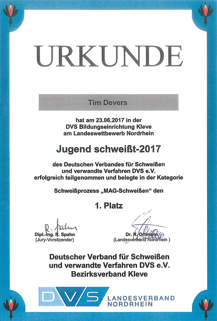 """NRW-Meister """"Jugend schweißt 2017"""""""